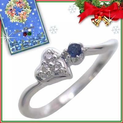 クリスマス限定Xmasカード付( 9月誕生石 ) K10ホワイトゴールド サファイアリング(ハートモチーフ)【DEAL】