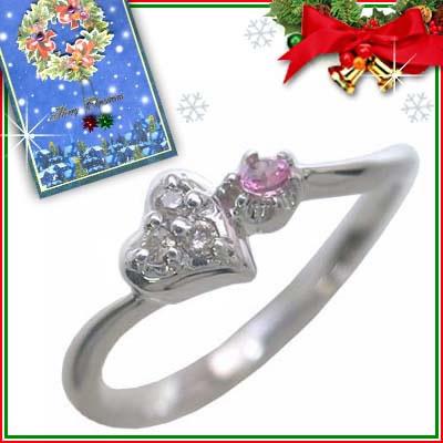 クリスマス限定Xmasカード付( 10月誕生石 ) K10ホワイトゴールド ピンクトルマリンリング(ハートモチーフ)【DEAL】