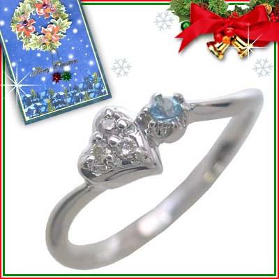 クリスマス限定Xmasカード付( 11月誕生石 ) K10ホワイトゴールド ブルートパーズリング(ハートモチーフ)【DEAL】