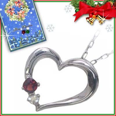 クリスマス限定Xmasカード付( 1月誕生石 ) K10ホワイトゴールド ガーネットペンダントネックレス(ハートモチーフ)