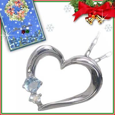 クリスマス限定Xmasカード付( 3月誕生石 ) K10ホワイトゴールド アクアマリンペンダントネックレス(ハートモチーフ)