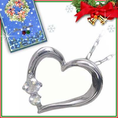 クリスマス限定Xmasカード付( 6月誕生石 ) K10ホワイトゴールド ムーンストーンペンダントネックレス(ハートモチーフ)
