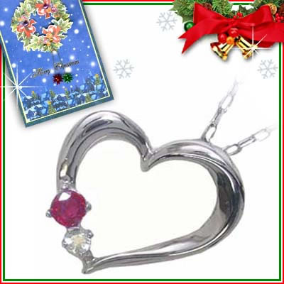 クリスマス限定Xmasカード付( 7月誕生石 ) K10ホワイトゴールド ルビーペンダントネックレス(ハートモチーフ)