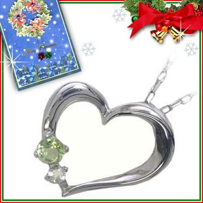 クリスマス限定Xmasカード付( 8月誕生石 ) K10ホワイトゴールド ペリドットペンダントネックレス(ハートモチーフ)