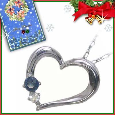 クリスマス限定Xmasカード付( 9月誕生石 ) K10ホワイトゴールド サファイアペンダントネックレス(ハートモチーフ)
