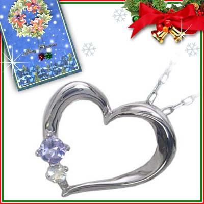 クリスマス限定Xmasカード付( 12月誕生石 ) K10ホワイトゴールド タンザナイトペンダントネックレス(ハートモチーフ)