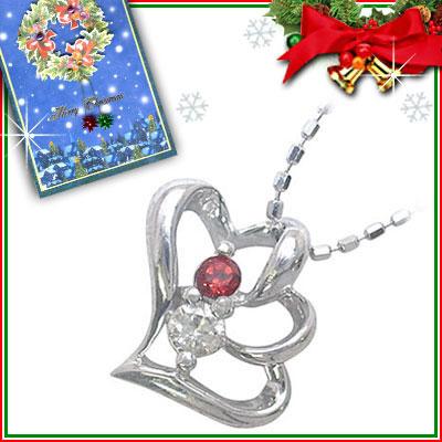 クリスマス限定Xmasカード付( 1月誕生石 ) K10ホワイトゴールド ガーネットペンダントネックレス(ハートモチーフ)【DEAL】