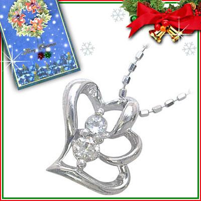 クリスマス限定Xmasカード付( 3月誕生石 ) K10ホワイトゴールド アクアマリンペンダントネックレス(ハートモチーフ)【DEAL】