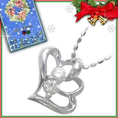 クリスマス限定Xmasカード付( 4月誕生石 ) K10ホワイトゴールド ダイヤモンドペンダントネックレス(ハートモチーフ)
