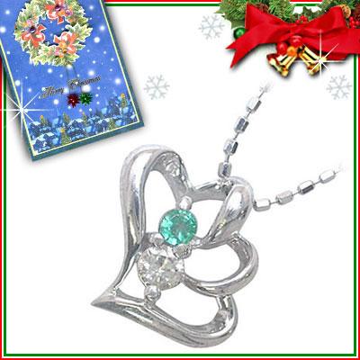 クリスマス限定Xmasカード付( 5月誕生石 ) K10ホワイトゴールド エメラルドペンダントネックレス(ハートモチーフ)【DEAL】