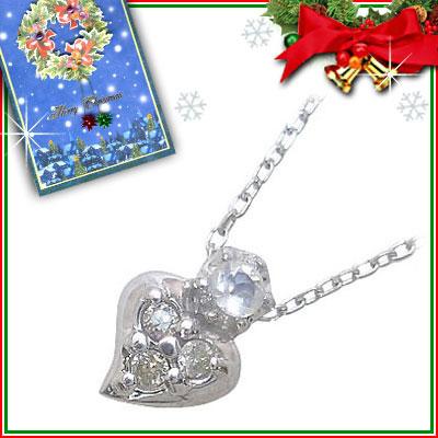 クリスマス限定Xmasカード付( 6月誕生石 ) K10ホワイトゴールド ムーンストーンペンダントネックレス(ハートモチーフ)【DEAL】
