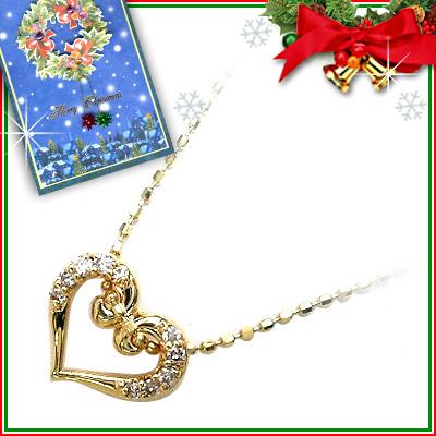 クリスマス限定Xmasカード付K18 ダイヤモンドペンダントネックレス(ハートモチーフ)【DEAL】