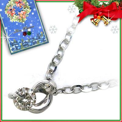 クリスマス限定Xmasカード付K18ホワイトゴールドダイヤモンドペンダンネックレス【DEAL】