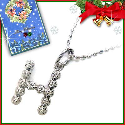 クリスマス限定Xmasカード付「H」イニシャルモチーフK18ホワイトゴールドペンダントネックレスCanCam掲載【DEAL】