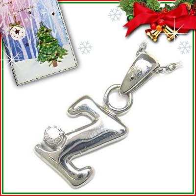クリスマス限定Xmasカード付「Z」イニシャルモチーフ( 4月誕生石 ) ダイヤモンドペンダントネックレスCanCam掲載【DEAL】