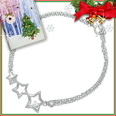 クリスマス限定Xmasカード付◆( 4月誕生石 ) シルバー ダイヤモンドブレスレット(スターモチーフ)【DEAL】