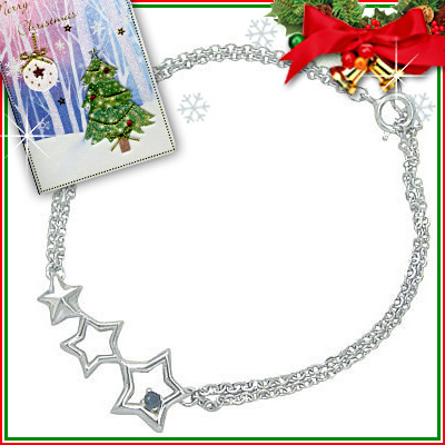 クリスマス限定Xmasカード付◆( 9月誕生石 ) シルバー サファイアブレスレット(スターモチーフ)【DEAL】