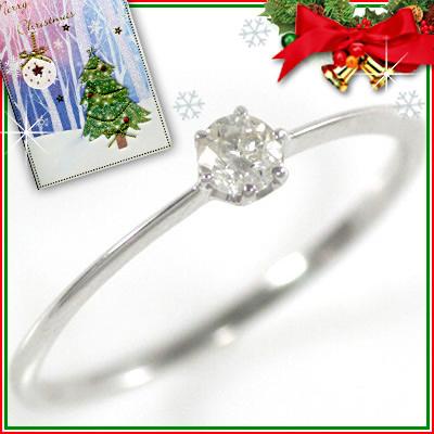 クリスマス限定Xmasカード付( 4月誕生石 ) K18ホワイトゴールド ダイヤモンドリング【DEAL】