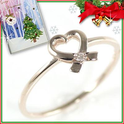 クリスマス限定Xmasカード付◆( Brand Jewelry me. ) K10ピンクゴールドダイヤモンドリング(ハートモチーフ)【DEAL】