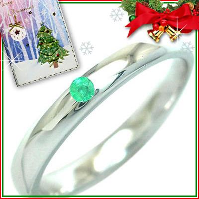 クリスマス限定Xmasカード付( 5月誕生石 )シルバー エメラルドリング【DEAL】