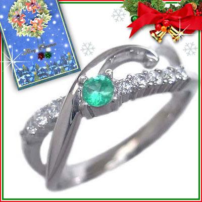 クリスマス限定Xmasカード付( 5月誕生石 ) K18ホワイトゴールド エメラルド・ダイヤモンドリング【DEAL】