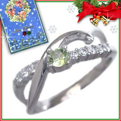 クリスマス限定Xmasカード付( 8月誕生石 ) K18ホワイトゴールド ペリドット・ダイヤモンドリング【DEAL】