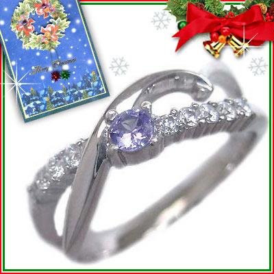 クリスマス限定Xmasカード付( 12月誕生石 ) K18ホワイトゴールド タンザナイト・ダイヤモンドリング【DEAL】