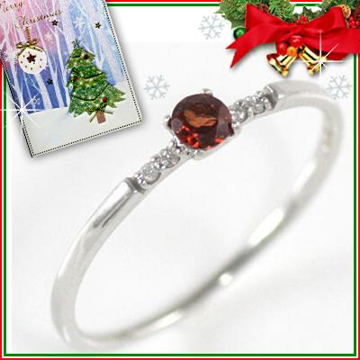 クリスマス限定Xmasカード付( 1月誕生石 ) K18ホワイトゴールド ガーネットリング