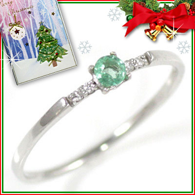 クリスマス限定Xmasカード付( 5月誕生石 ) K18ホワイトゴールド エメラルドリング