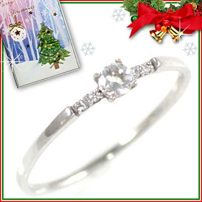 クリスマス限定Xmasカード付( 6月誕生石 ) K18ホワイトゴールド ムーンストーンリング