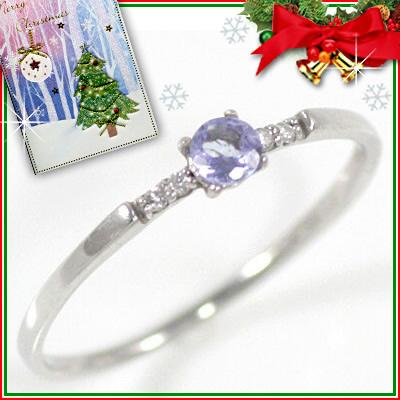 クリスマス限定Xmasカード付( 12月誕生石 ) K18ホワイトゴールド タンザナイトリング