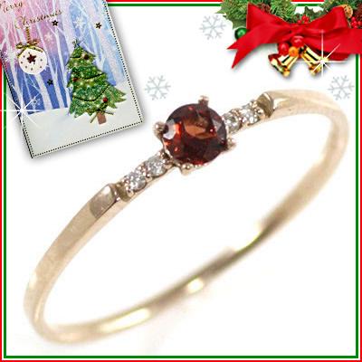 クリスマス限定Xmasカード付( 1月誕生石 ) K18ピンクゴールド ガーネットリング