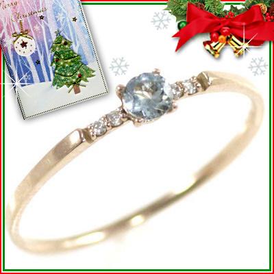 クリスマス限定Xmasカード付( 3月誕生石 ) K18ピンクゴールド アクアマリンリング