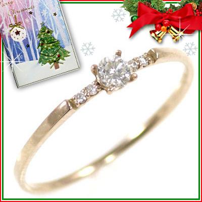 クリスマス限定Xmasカード付( 4月誕生石 ) K18ピンクゴールド ダイヤモンドリング
