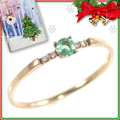 クリスマス限定Xmasカード付( 5月誕生石 ) K18ピンクゴールド エメラルドリング