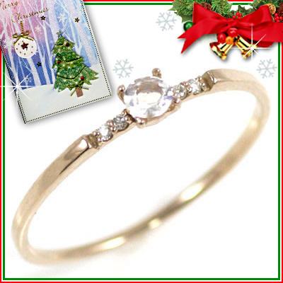 クリスマス限定Xmasカード付( 6月誕生石 ) K18ピンクゴールド ムーンストーンリング