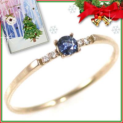 クリスマス限定Xmasカード付( 9月誕生石 ) K18ピンクゴールド サファイアリング