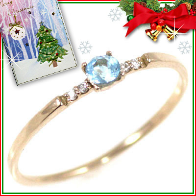 クリスマス限定Xmasカード付( 11月誕生石 ) K18ピンクゴールド ブルートパーズリング