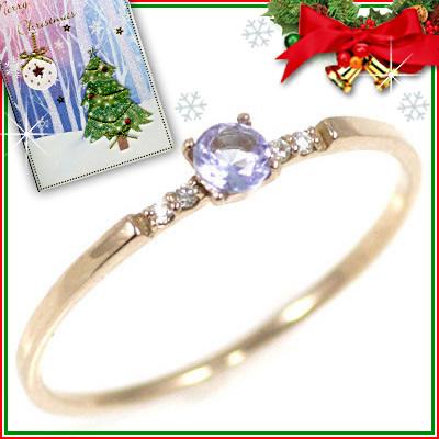 クリスマス限定Xmasカード付( 12月誕生石 ) K18ピンクゴールド タンザナイトリング