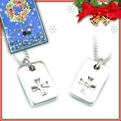 クリスマス限定Xmasカード付( 4月誕生石 ) SVダイヤモンドペアネックレス【DEAL】