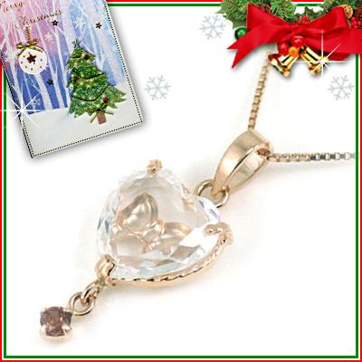 クリスマス限定Xmasカード付( 1月誕生石 ) K10ピンクゴールド ガーネットペンダントネックレス(ハート・リボンモチーフ)【DEAL】