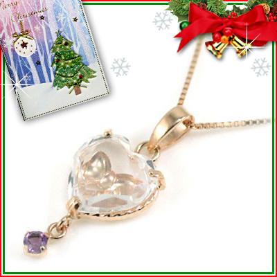 クリスマス限定Xmasカード付( 2月誕生石 ) K10ピンクゴールド アメジストペンダントネックレス(ハート・リボンモチーフ)【DEAL】