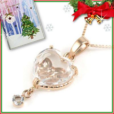 クリスマス限定Xmasカード付( 3月誕生石 ) K10ピンクゴールド アクアマリンペンダントネックレス(ハート・リボンモチーフ)【DEAL】