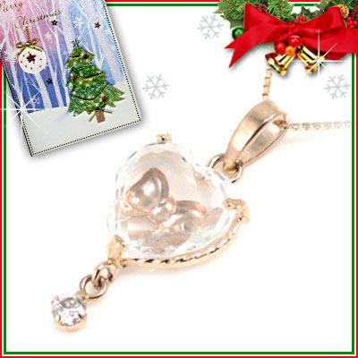 クリスマス限定Xmasカード付( 4月誕生石 ) K10ピンクゴールド ダイヤモンドペンダントネックレス(ハート・リボンモチーフ)【DEAL】