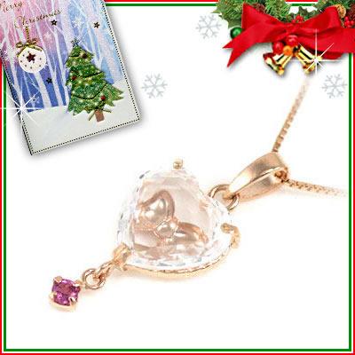 クリスマス限定Xmasカード付( 10月誕生石 ) K10ピンクゴールド ピンクトルマリンペンダントネックレス(ハート・リボンモチーフ)【DEAL】