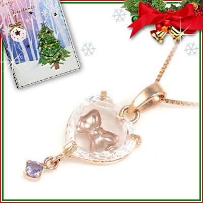 クリスマス限定Xmasカード付( 12月誕生石 ) K10ピンクゴールド タンザナイトペンダントネックレス(ハート・リボンモチーフ)【DEAL】