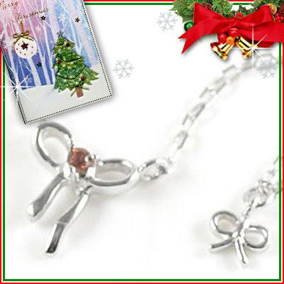クリスマス限定Xmasカード付( 1月誕生石 ) K10ホワイトゴールド ガーネットペンダントネックレス(リボンモチーフ)【DEAL】