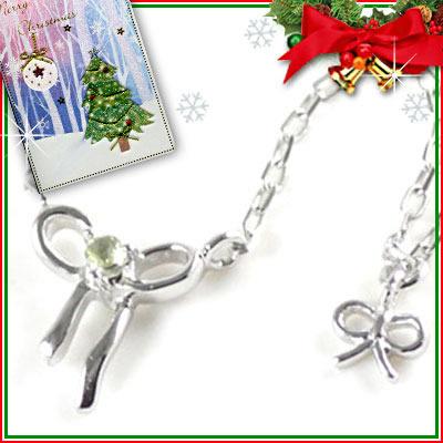 クリスマス限定Xmasカード付( 8月誕生石 ) K10ホワイトゴールド ペリドットペンダントネックレス(リボンモチーフ)【DEAL】