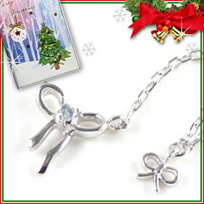 クリスマス限定Xmasカード付( 11月誕生石 ) K10ホワイトゴールド ブルートパーズペンダントネックレス(リボンモチーフ)【DEAL】