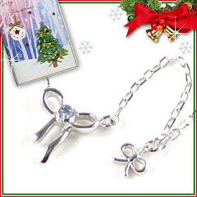 クリスマス限定Xmasカード付( 12月誕生石 ) K10ホワイトゴールド タンザナイトペンダントネックレス(リボンモチーフ)【DEAL】